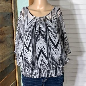 IZByer Sheer Top w/ Attached Tank Elastic Waist XL